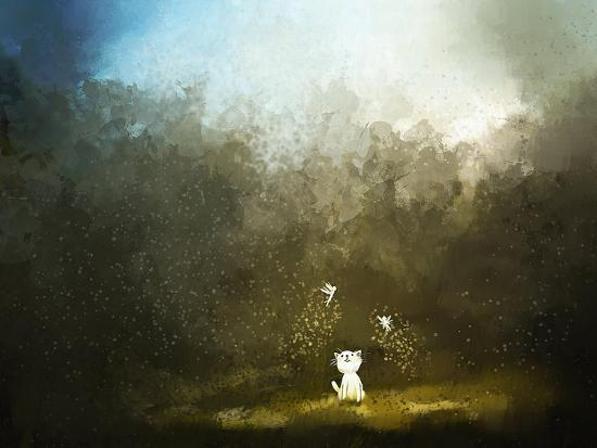 Painting of Kitten Playing with Fairy on Green Grass- Archv-Art Print