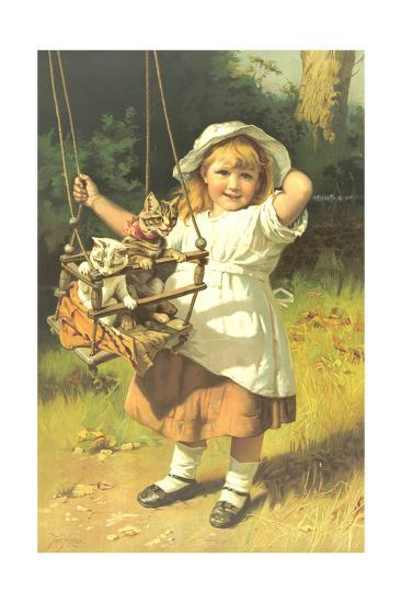 Painting of Little Girl Holding Swing with Kitties--Art Print