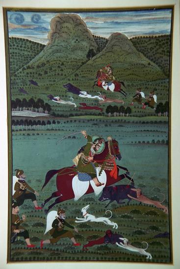 Painting of Maharana Jawan Singh hunting wild boars, 19th century. Artist: Unknown-Unknown-Giclee Print