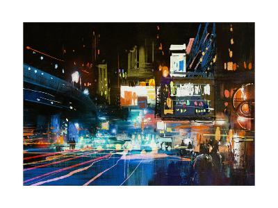 Painting of Modern Urban City at Night,Illustration-Tithi Luadthong-Art Print