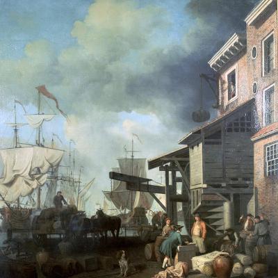 Painting of Old Custom House Quay, 18th Century-Samuel Scott-Giclee Print