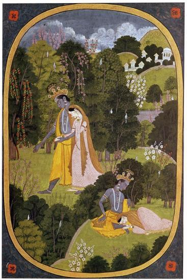 Painting of Radha and Khrishna in a grove. Artist: Unknown-Unknown-Giclee Print