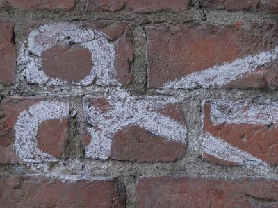 Painting of Scissors on Rustic Brick Wall--Photographic Print