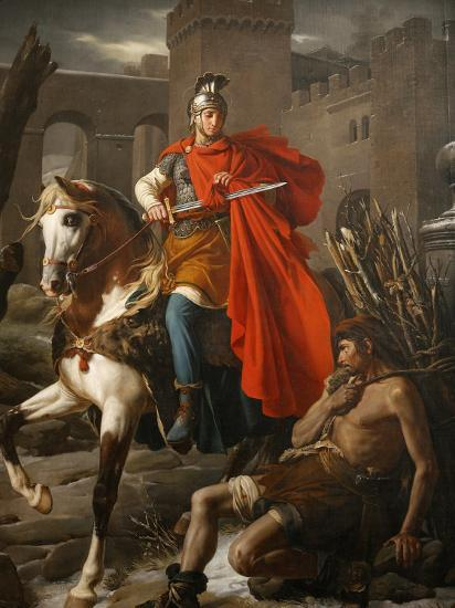 Painting of St. Martin Sharing His Coat, St. Gatien Cathedral, Tours, Indre-Et-Loire-Godong-Photographic Print