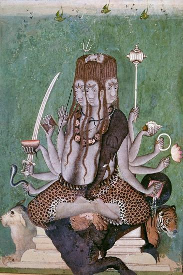 Painting of the god Siva with attributes. Artist: Unknown-Unknown-Giclee Print