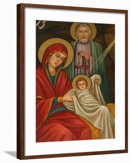 Painting of the Nativity, St. Anthony Coptic Church, Jerusalem, Israel, Middle East-Godong-Framed Photographic Print