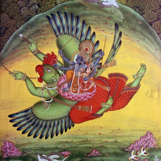 Painting of Vishnu and his consort Lakshmi riding on the bird-god Garuda. Artist: Unknown-Unknown-Giclee Print