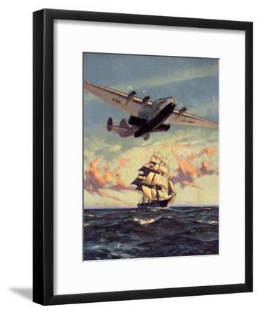 Painting og a Plane Flying near a Ship