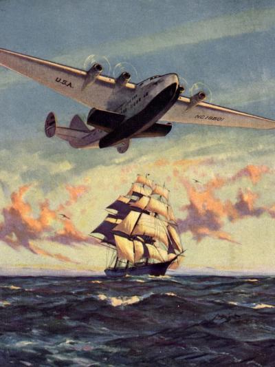 Painting og a Plane Flying near a Ship--Art Print