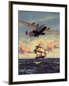 Painting og a Plane Flying near a Ship