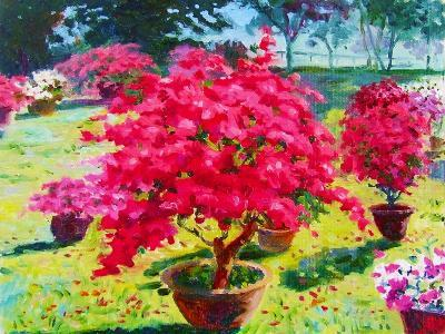 Painting Oil Color Landscape Original Colorful of Paper Flower Tree and Emotion at the Garden in Th-Tanom Kongchan-Art Print