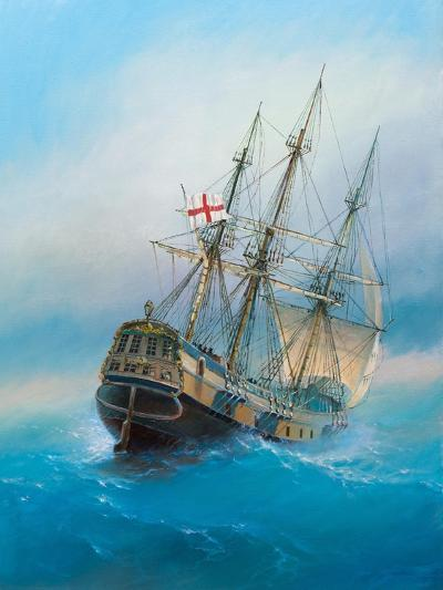 Painting. Oil on Canvas. Shows a 19 Th Century Sailing Ship. the Painting Was Created in 2008.- Dudchik-Art Print