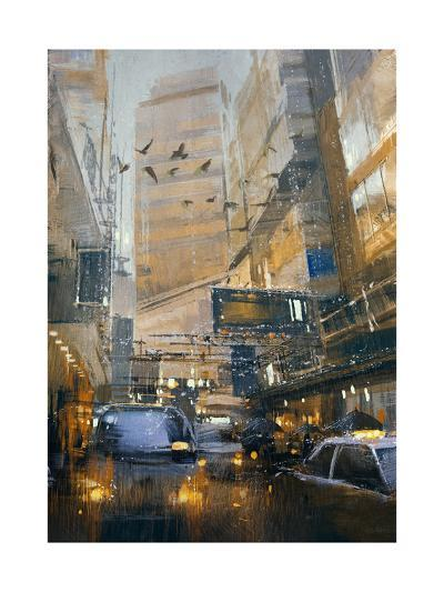 Painting Showing Rainy Day in City Traffic,Illustration-Tithi Luadthong-Art Print