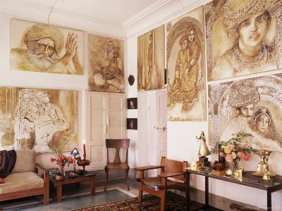 Paintings by Jaya Rastogi Wheaton, in Artist's House in Jaipur, India-John Henry Claude Wilson-Photographic Print