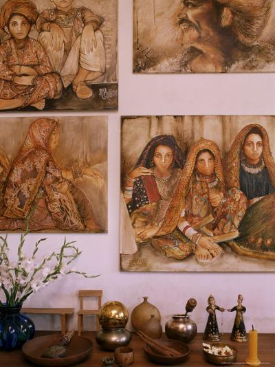 Paintings by Jaya Rastogi Wheaton, in Artists House in Jaipur, Rajasthan State, India-John Henry Claude Wilson-Photographic Print