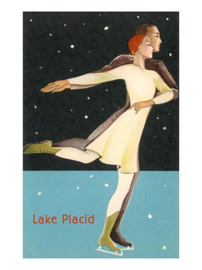 Pair Ice Skating in Lake Placid, New York--Art Print
