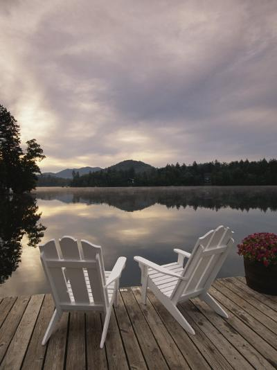 Pair of Adirondack Chairs on a Dock at the Mirror Lake Inn-Michael Melford-Photographic Print