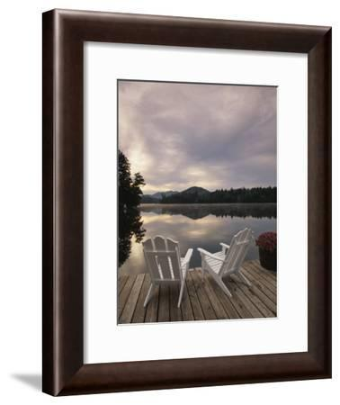 Adirondack Chairs on Dock at Lake Photographic Print