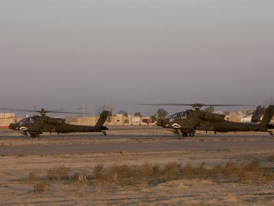 Pair of AH-64 Apache Helicopters Prepare for Takeoff-Stocktrek Images-Photographic Print