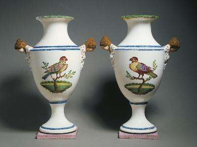 Pair of Amphora Vases Decorated with Birds--Giclee Print