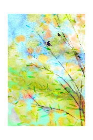 Pair of Birds in Watercolor Tree--Art Print