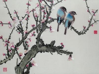 Pair of Birds on a Cherry Branch, Hunan Region, Republic Period--Giclee Print