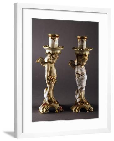 Pair of Candlesticks, 1870-1875, Porcelain, Meissen Manufacture, Saxony, Germany--Framed Giclee Print