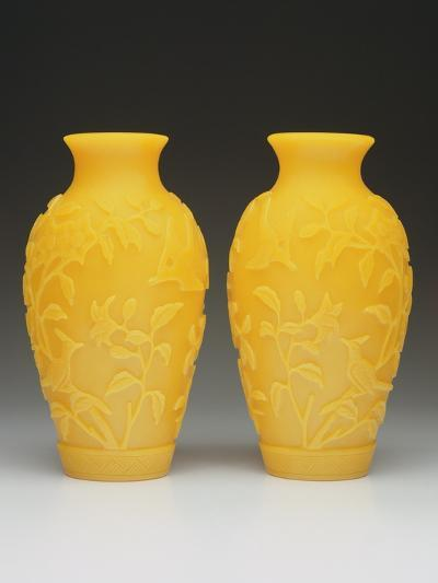 Pair of Carved Beijing Vases, Qianlong Period, 1736-95--Giclee Print