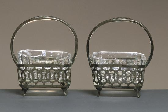 Pair of Crystal and Silver Salt Cellars--Giclee Print