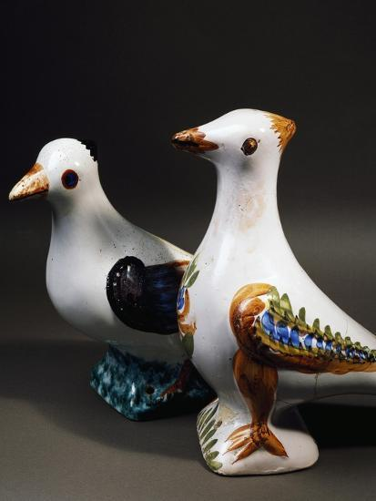 Pair of Decorative Doves in Dovecote, Maiolica, Burgundy, Detail, France--Giclee Print