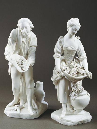 Pair of Gardeners, Bisque Porcelain, Sevres Manufacture, Ile-De-France--Giclee Print