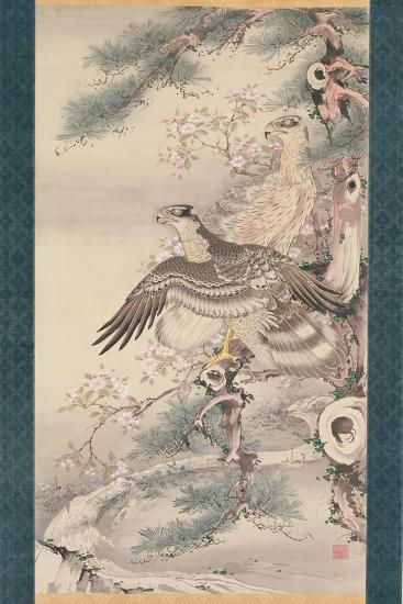 Pair of Hawks with Branch and Blossoms-Soga Shohaku-Giclee Print