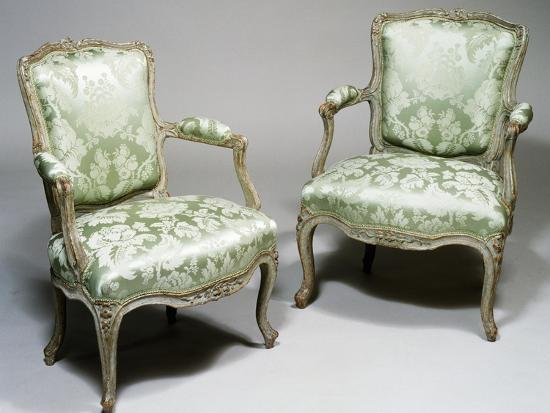 Pair of Louis XV Style Carved Wood and Lacquer Armchairs, One Stamped Reuze and Other L Cresson--Giclee Print