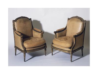 Pair of Louis XVI Style Gilt French Wood Bergeres, Signed by Jean-Baptiste Boulard--Giclee Print