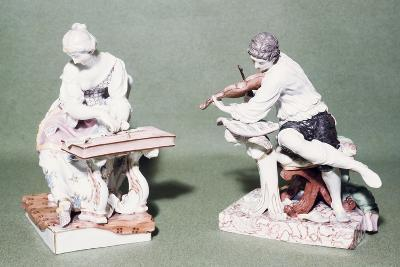 Pair of Musicians, Porcelain, Ludwigsburg Manufacture, Baden-Wuerttemberg, Germany--Giclee Print