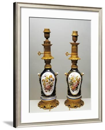 Pair of Oil Lamps Decorated with Still Life and Wild Animals--Framed Giclee Print