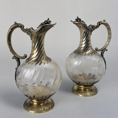 Pair of Parisian Jugs in Silver and Crystal Glass, Signed Capard, France--Giclee Print