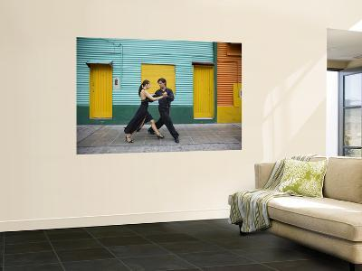 Pair of Tango Dancers Performing on Streets of La Boca-Brent Winebrenner-Wall Mural