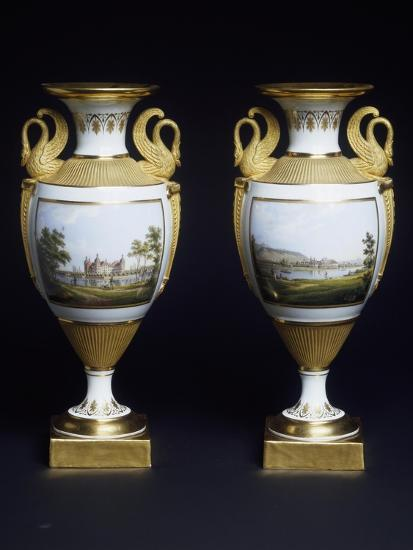 Pair of Vases, Porcelain, Meissen Manufacture, Saxony, Germany--Giclee Print