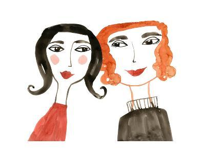 Pair of Women with Heads Together--Art Print