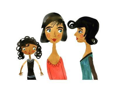 Pair of Women with Little Girl--Art Print