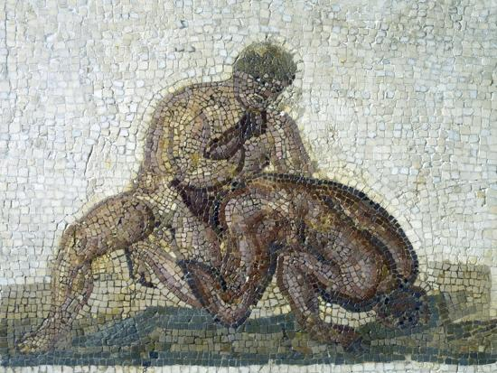 Pair of Wrestlers, Mosaic Uncovered in Gighti, Tunisia, 3rd Century--Giclee Print