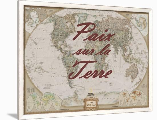 Paix sur la Terre-National Geographic Maps-Framed Art Print