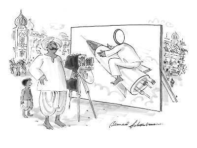 Pakistani or Indian man with camera and billboard of person with a hole cu? - New Yorker Cartoon-Bernard Schoenbaum-Premium Giclee Print