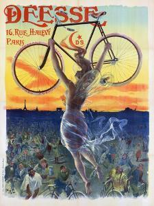 Vintage French Poster of a Goddess with a Bicycle, C.1898 by Pal