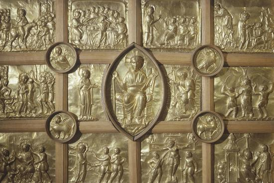 Pala D'Oro Altar in Aachen Cathedral, Detail Representing Different Biblical Scenes and Pantocrator--Giclee Print