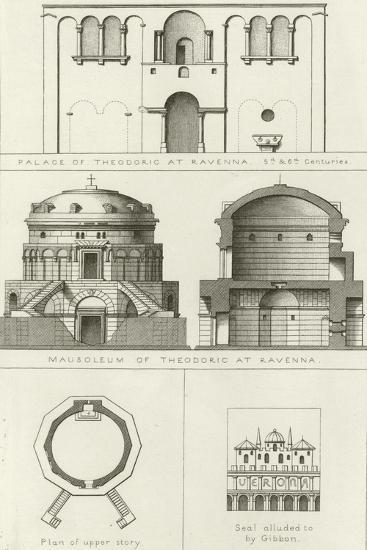 Palace and Mausoleum of Theodoric at Ravenna, Italy, 5th and 6th Centuries--Giclee Print