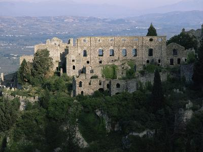 Palace of the Despots and the Plain of Sparta Below, Mistra, Greece-Adrian Neville-Photographic Print