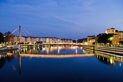 Palais Du Justice Footbridge Reflecting on the Saone-Massimo Borchi-Photographic Print