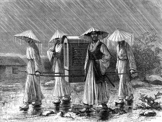 Palanquin Bearers in Rain Costume, Korea, 19th Century-Mario Azzopardi-Giclee Print